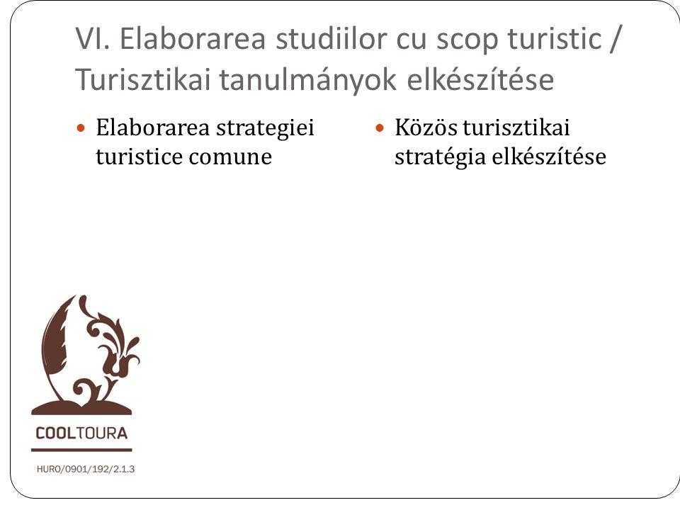VI. Elaborarea studiilor cu scop turistic / Turisztikai tanulmányok elkészítése Elaborarea strategiei turistice comune Közös turisztikai stratégia elk