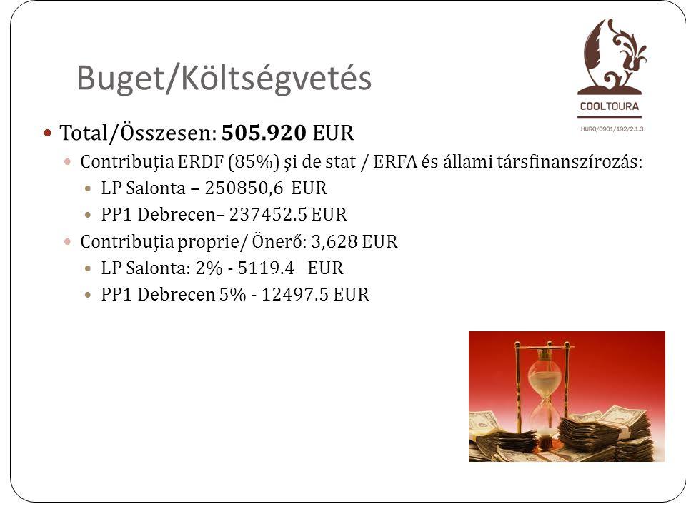 2 Buget/Költségvetés Total/Összesen: 505.920 EUR Contribuţia ERDF (85%) şi de stat / ERFA és állami társfinanszírozás: LP Salonta – 250850,6 EUR PP1 D