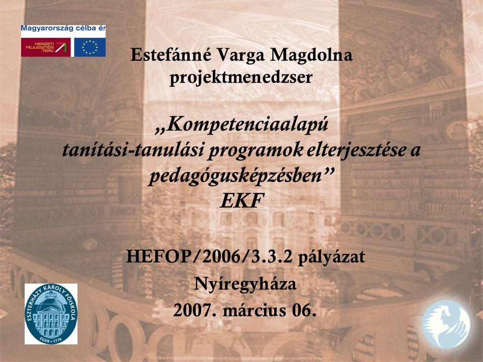 """Estefánné Varga Magdolna projektmenedzser """"Kompetenciaalapú tanítási-tanulási programok elterjesztése a pedagógusképzésben EKF HEFOP/2006/3.3.2 pályázat Nyíregyháza 2007."""