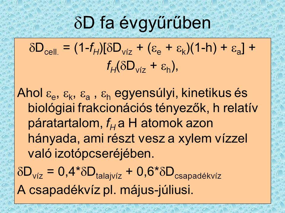  D fa évgyűrűben  D cell. = (1-f H )[  D víz + (  e +  k )(1-h) +  a ] + f H (  D víz +  h ), Ahol  e,  k,  a,  h egyensúlyi, kinetikus és