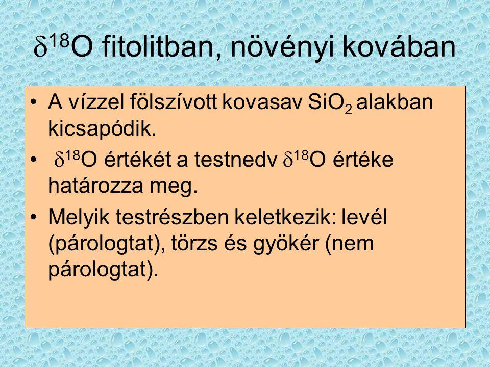  18 O fitolitban, növényi kovában A vízzel fölszívott kovasav SiO 2 alakban kicsapódik.  18 O értékét a testnedv  18 O értéke határozza meg. Melyik