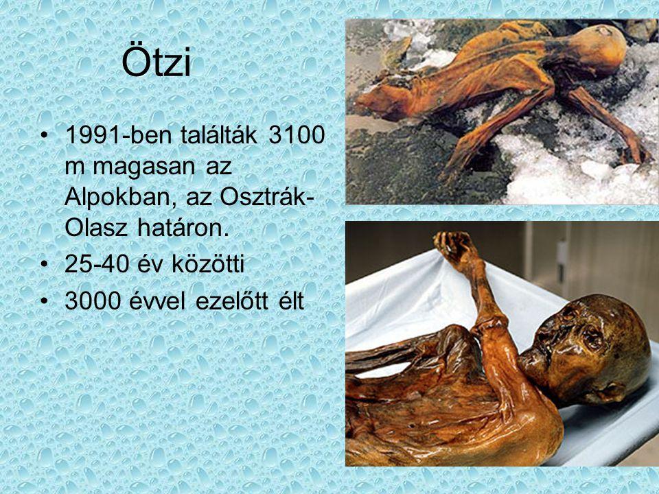 Ötzi 1991-ben találták 3100 m magasan az Alpokban, az Osztrák- Olasz határon. 25-40 év közötti 3000 évvel ezelőtt élt