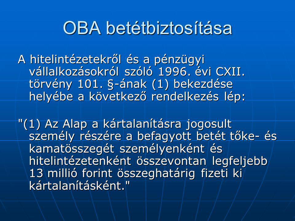 OBA betétbiztosítása A hitelintézetekről és a pénzügyi vállalkozásokról szóló 1996. évi CXII. törvény 101. §-ának (1) bekezdése helyébe a következő re