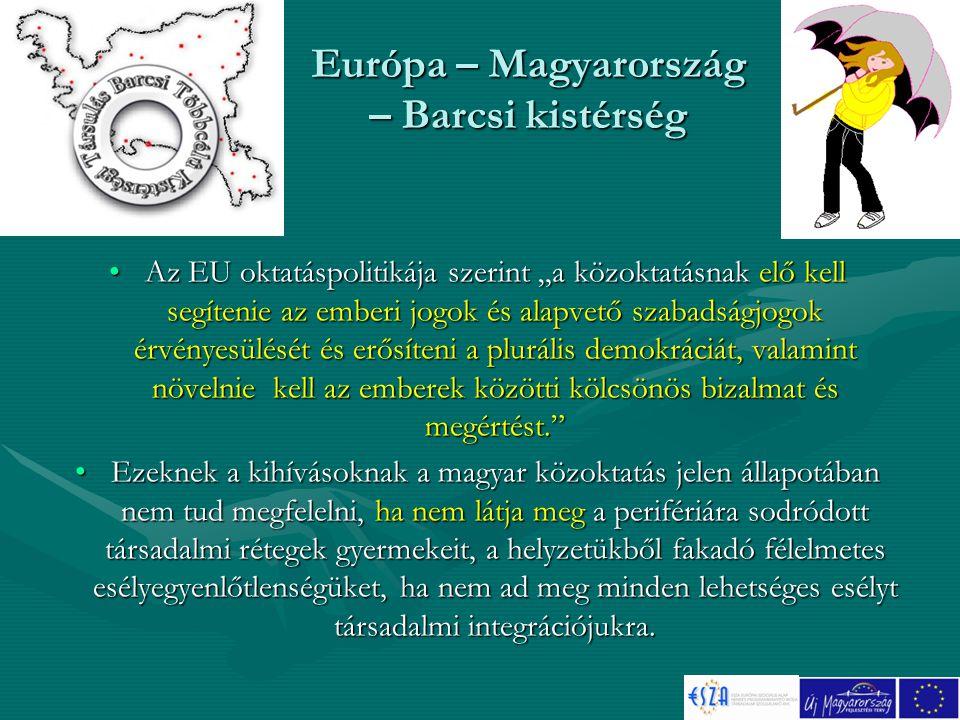 """Európa – Magyarország – Barcsi kistérség Az EU oktatáspolitikája szerint """"a közoktatásnak elő kell segítenie az emberi jogok és alapvető szabadságjogok érvényesülését és erősíteni a plurális demokráciát, valamint növelnie kell az emberek közötti kölcsönös bizalmat és megértést. Az EU oktatáspolitikája szerint """"a közoktatásnak elő kell segítenie az emberi jogok és alapvető szabadságjogok érvényesülését és erősíteni a plurális demokráciát, valamint növelnie kell az emberek közötti kölcsönös bizalmat és megértést. Ezeknek a kihívásoknak a magyar közoktatás jelen állapotában nem tud megfelelni, ha nem látja meg a perifériára sodródott társadalmi rétegek gyermekeit, a helyzetükből fakadó félelmetes esélyegyenlőtlenségüket, ha nem ad meg minden lehetséges esélyt társadalmi integrációjukra.Ezeknek a kihívásoknak a magyar közoktatás jelen állapotában nem tud megfelelni, ha nem látja meg a perifériára sodródott társadalmi rétegek gyermekeit, a helyzetükből fakadó félelmetes esélyegyenlőtlenségüket, ha nem ad meg minden lehetséges esélyt társadalmi integrációjukra."""