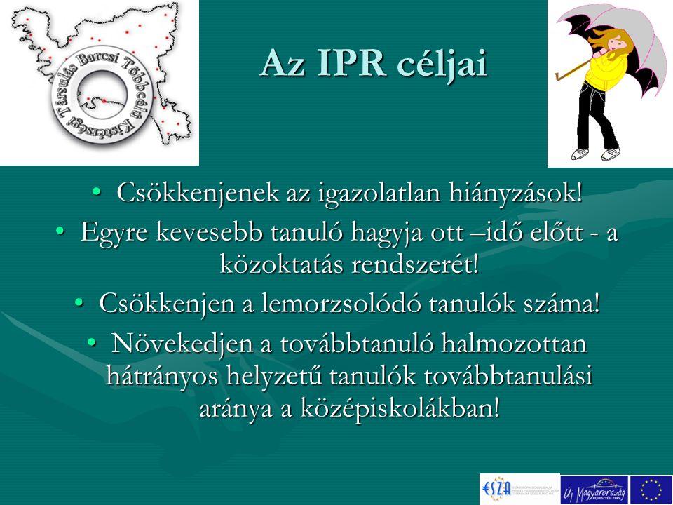 Az IPR céljai Csökkenjenek az igazolatlan hiányzások!Csökkenjenek az igazolatlan hiányzások.