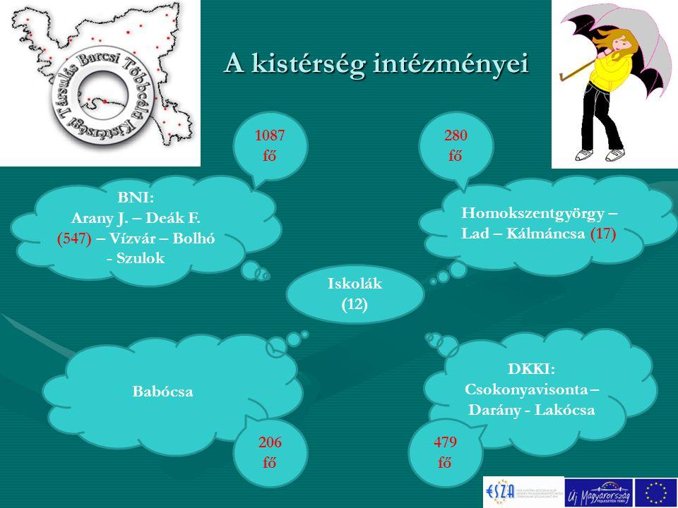 A kistérség intézményei Iskolák (12) Homokszentgyörgy – Lad – Kálmáncsa (17) BNI: Arany J.