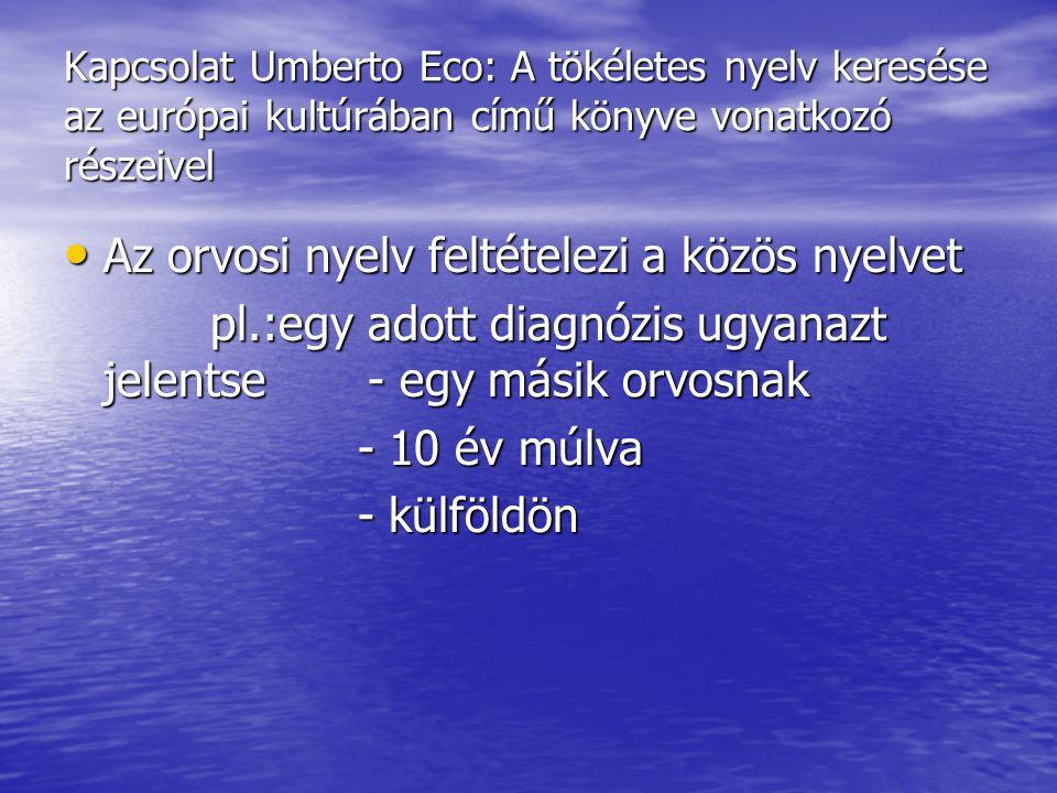 Kapcsolat Umberto Eco: A tökéletes nyelv keresése az európai kultúrában című könyve vonatkozó részeivel Az orvosi nyelv feltételezi a közös nyelvet Az