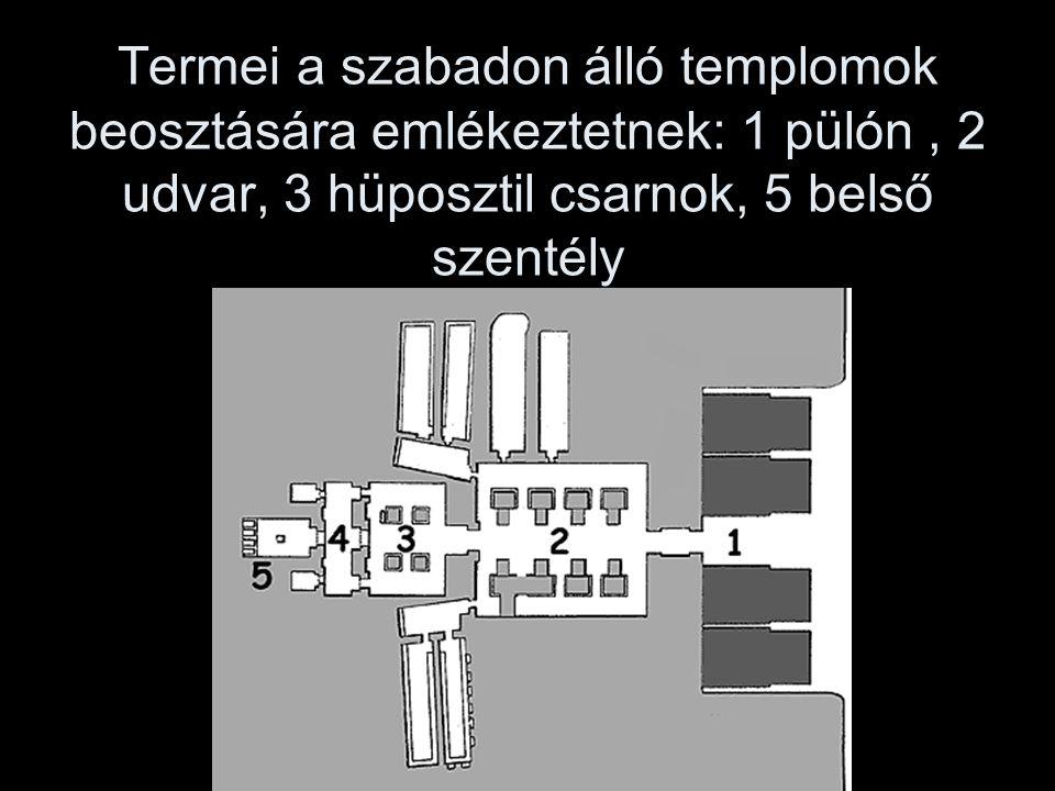 Termei a szabadon álló templomok beosztására emlékeztetnek: 1 pülón, 2 udvar, 3 hüposztil csarnok, 5 belső szentély