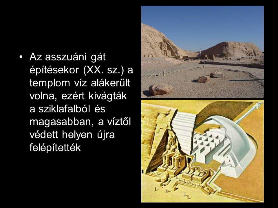 Az asszuáni gát építésekor (XX. sz.) a templom víz alákerült volna, ezért kivágták a sziklafalból és magasabban, a víztől védett helyen újra felépítet