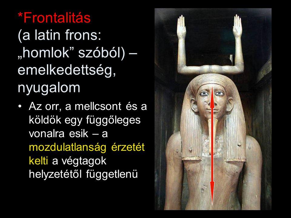 """*Frontalitás (a latin frons: """"homlok"""" szóból) – emelkedettség, nyugalom Az orr, a mellcsont és a köldök egy függőleges vonalra esik – a mozdulatlanság"""
