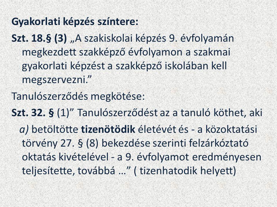 """Gyakorlati képzés színtere: Szt. 18.§ (3) """"A szakiskolai képzés 9."""