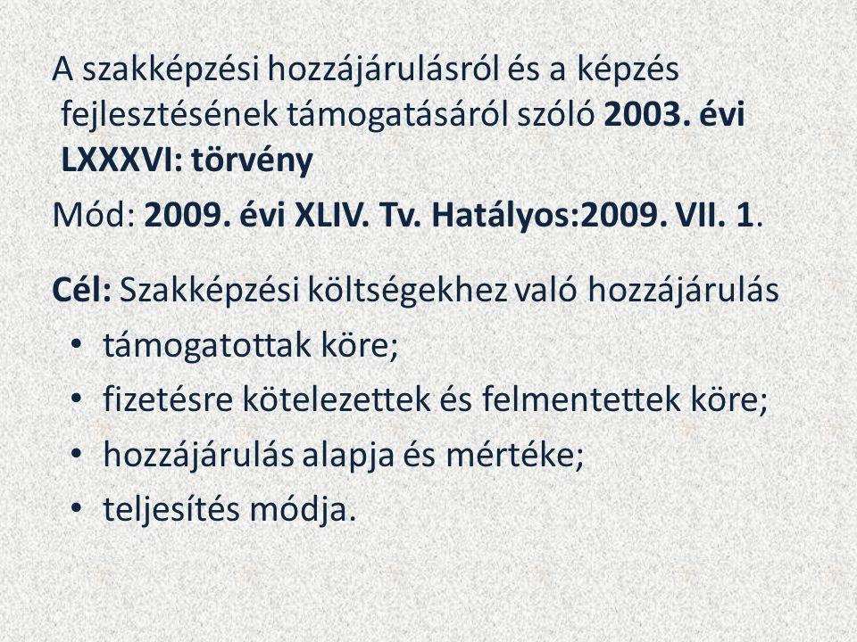 A szakképzési hozzájárulásról és a képzés fejlesztésének támogatásáról szóló 2003. évi LXXXVI: törvény Mód: 2009. évi XLIV. Tv. Hatályos:2009. VII. 1.