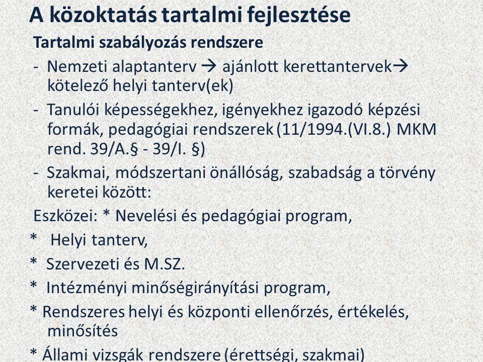 A közoktatás tartalmi fejlesztése Tartalmi szabályozás rendszere - Nemzeti alaptanterv  ajánlott kerettantervek  kötelező helyi tanterv(ek) - Tanulói képességekhez, igényekhez igazodó képzési formák, pedagógiai rendszerek (11/1994.(VI.8.) MKM rend.