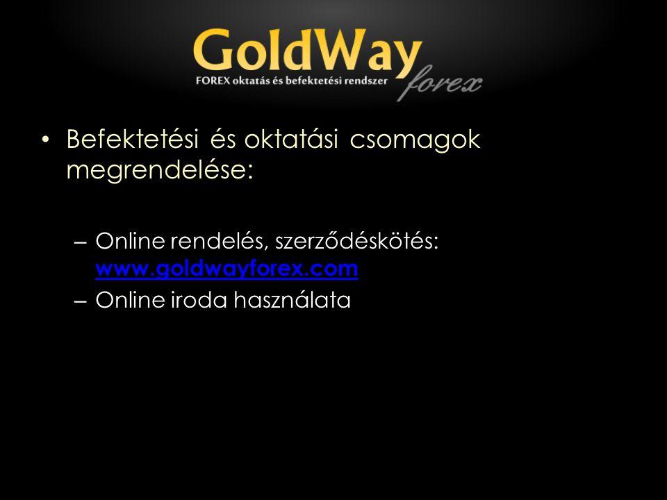 Befektetési és oktatási csomagok megrendelése: – Online rendelés, szerződéskötés: www.goldwayforex.com www.goldwayforex.com – Online iroda használata