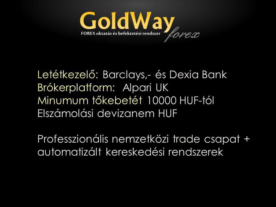Letétkezelő: Barclays,- és Dexia Bank Brókerplatform: Alpari UK Minumum tőkebetét 10000 HUF-tól Elszámolási devizanem HUF Professzionális nemzetközi trade csapat + automatizált kereskedési rendszerek
