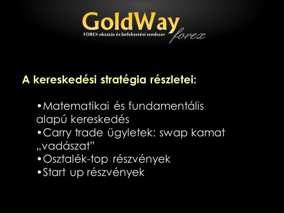 """A kereskedési stratégia részletei: Matematikai és fundamentális alapú kereskedés Carry trade ügyletek: swap kamat """"vadászat Osztalék-top részvények Start up részvények"""