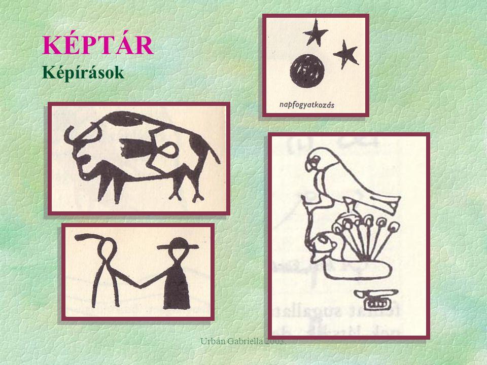 Urbán Gabriella 2003. A képírás - természethű, konkrét tárgyak leegyszerűsített képe (piktogram) - jelentése: szó, vagy mondat - bármely nyelven olvas