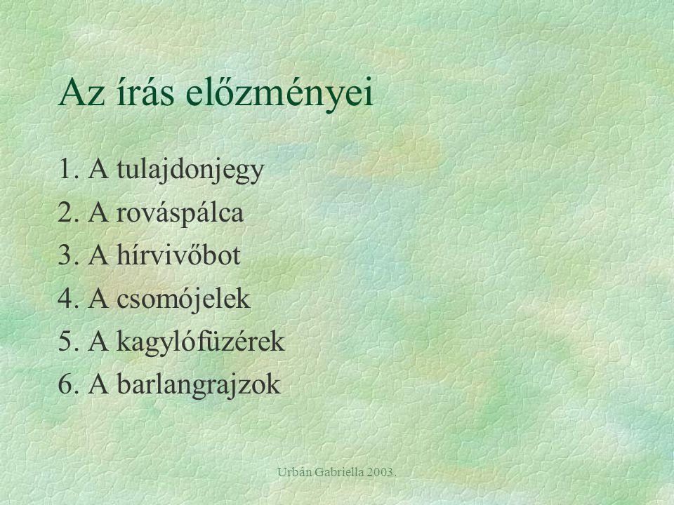 Urbán Gabriella 2003.Az írás előzményei 1. A tulajdonjegy 2.