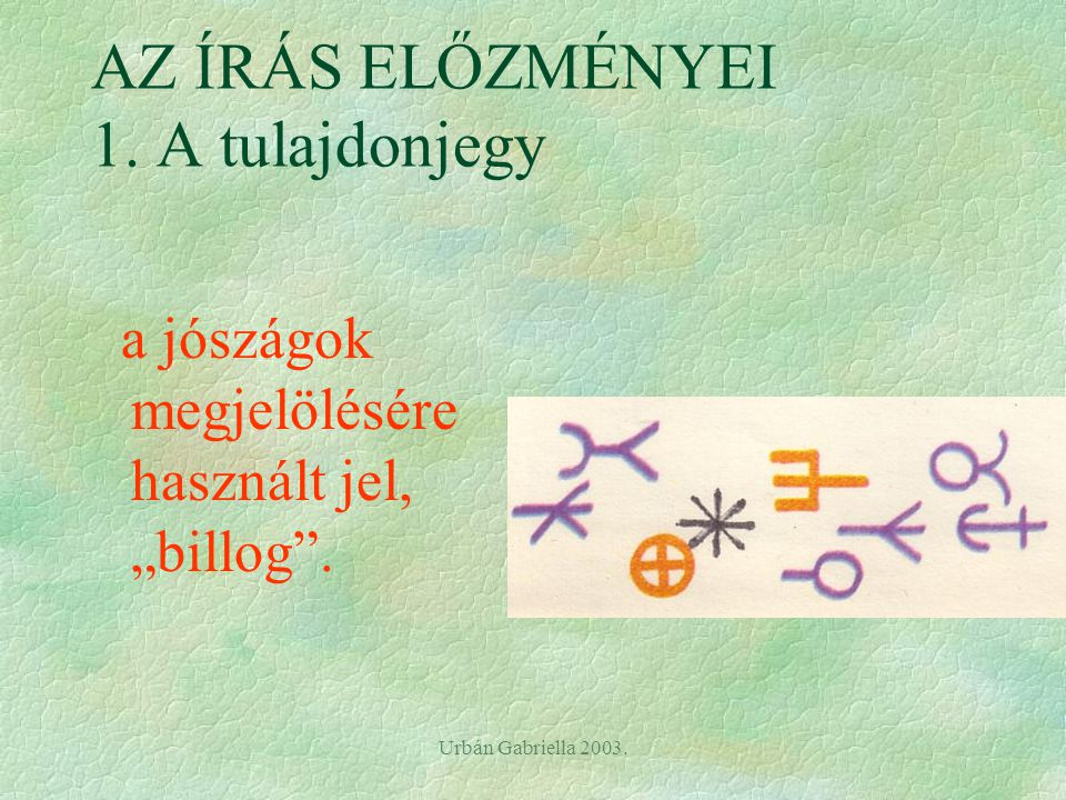 Urbán Gabriella 2003.AZ ÍRÁS ELŐZMÉNYEI 1.