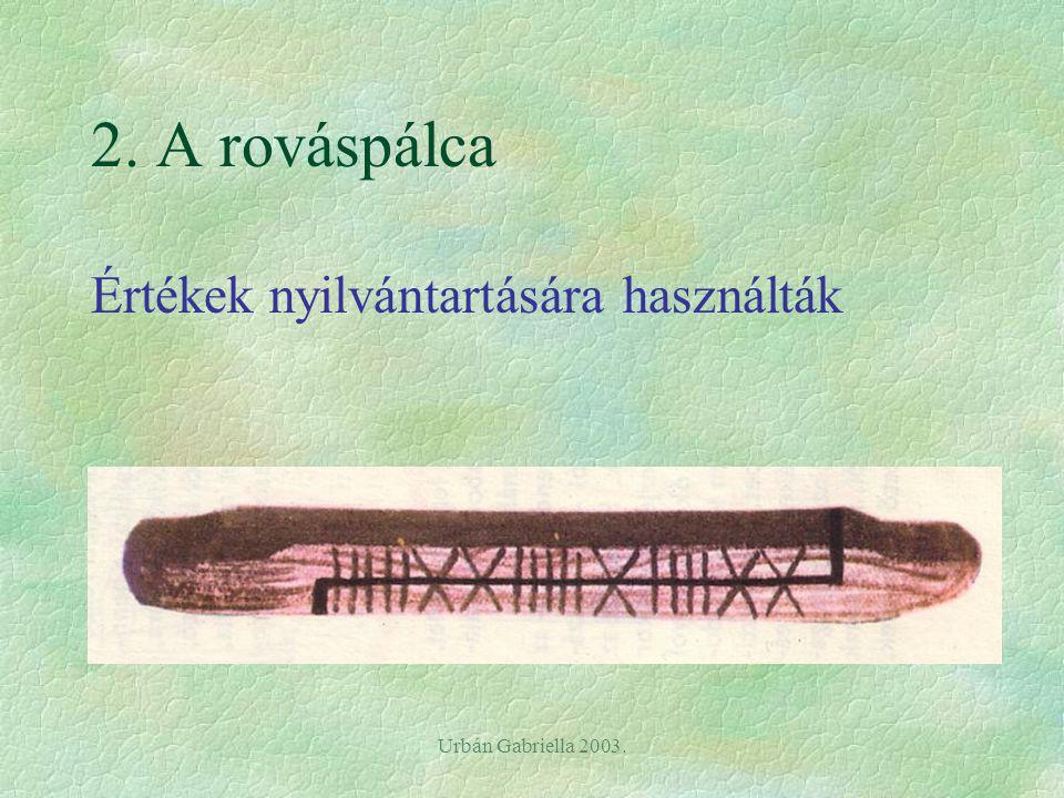 Urbán Gabriella 2003. 2. A rováspálca Értékek nyilvántartására használták