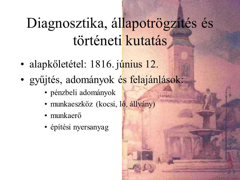 Diagnosztika, állapotrögzítés és történeti kutatás alapkőletétel: 1816.