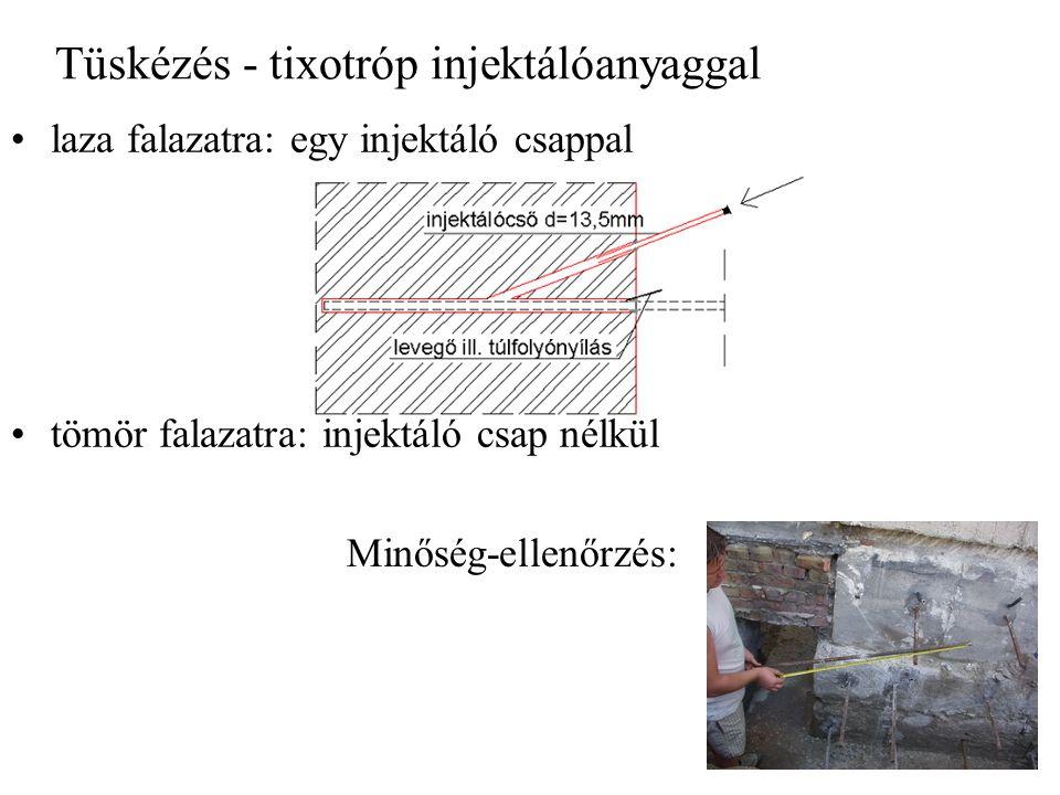 Tüskézés - tixotróp injektálóanyaggal laza falazatra: egy injektáló csappal tömör falazatra: injektáló csap nélkül Minőség-ellenőrzés: