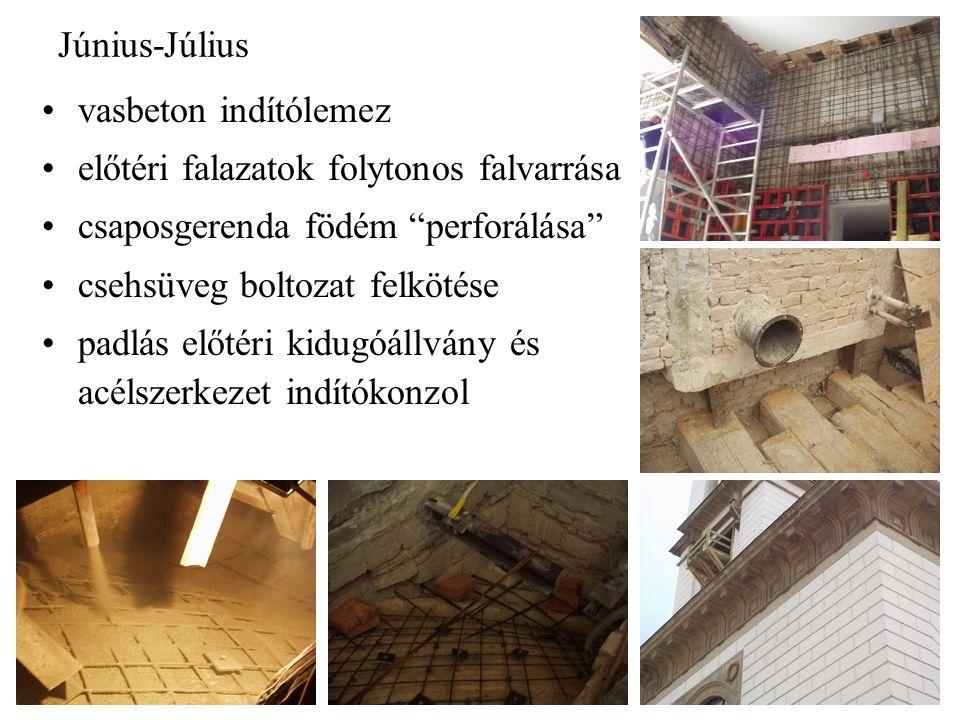 Június-Július vasbeton indítólemez előtéri falazatok folytonos falvarrása csaposgerenda födém perforálása csehsüveg boltozat felkötése padlás előtéri kidugóállvány és acélszerkezet indítókonzol