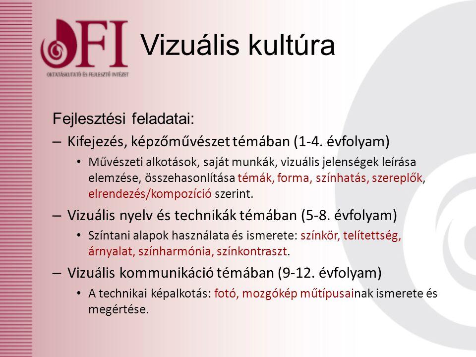 Vizuális kultúra Fejlesztési feladatai: – Kifejezés, képzőművészet témában (1-4. évfolyam) Művészeti alkotások, saját munkák, vizuális jelenségek leír