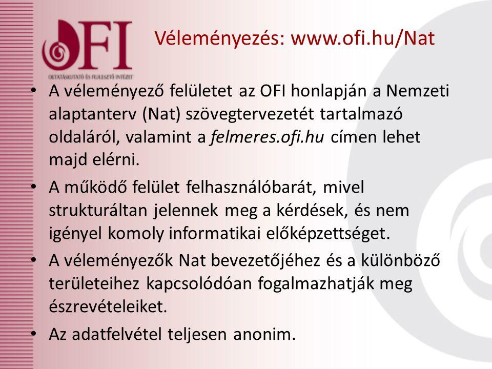 A véleményező felületet az OFI honlapján a Nemzeti alaptanterv (Nat) szövegtervezetét tartalmazó oldaláról, valamint a felmeres.ofi.hu címen lehet maj
