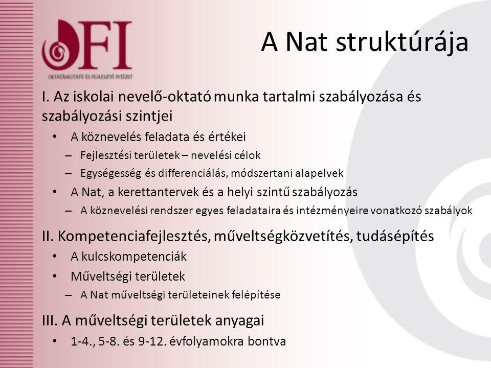A Nat struktúrája I. Az iskolai nevelő-oktató munka tartalmi szabályozása és szabályozási szintjei A köznevelés feladata és értékei – Fejlesztési terü
