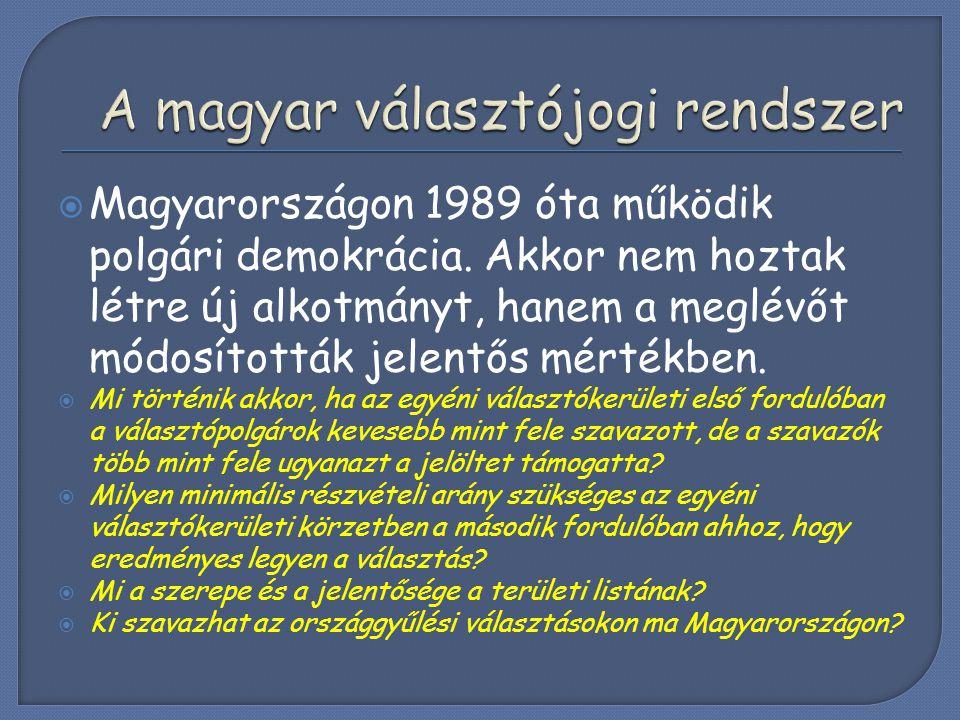  Magyarországon 1989 óta működik polgári demokrácia. Akkor nem hoztak létre új alkotmányt, hanem a meglévőt módosították jelentős mértékben.  Mi tör
