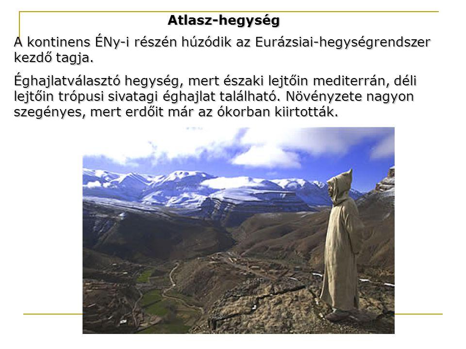 Atlasz-hegység A kontinens ÉNy-i részén húzódik az Eurázsiai-hegységrendszer kezdő tagja. Éghajlatválasztó hegység, mert északi lejtőin mediterrán, dé