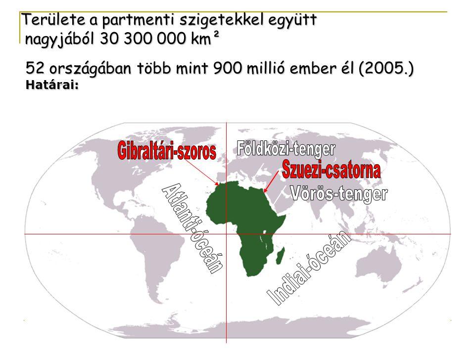 Területe a partmenti szigetekkel együtt nagyjából 30 300 000 km² nagyjából 30 300 000 km² 52 országában több mint 900 millió ember él (2005.) Határai: