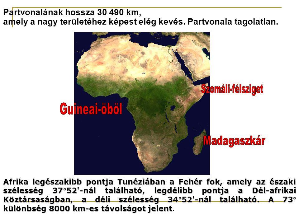 Partvonalának hossza 30 490 km, amely a nagy területéhez képest elég kevés. Partvonala tagolatlan. Afrika legészakibb pontja Tunéziában a Fehér fok, a