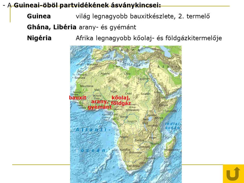 - A Guineai-öböl partvidékének ásványkincsei: Guineavilág legnagyobb bauxitkészlete, 2. termelő Ghána, Libéria arany- és gyémánt NigériaAfrika legnagy