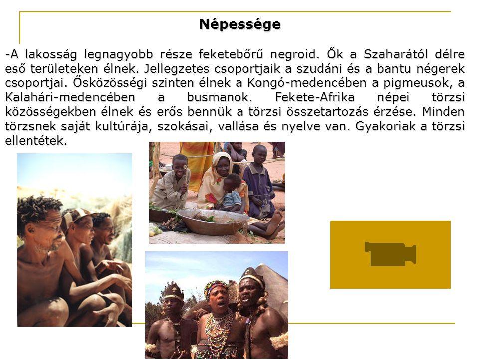 Népessége -A lakosság legnagyobb része feketebőrű negroid. Ők a Szaharától délre eső területeken élnek. Jellegzetes csoportjaik a szudáni és a bantu n