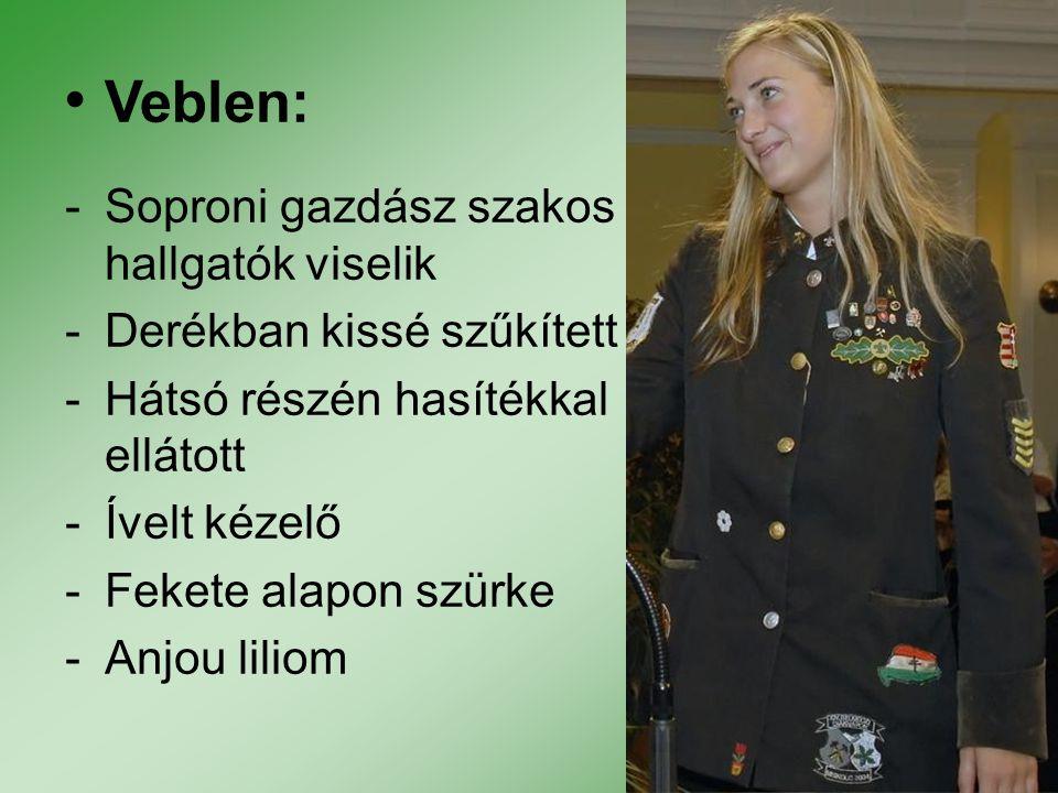 Veblen: -Soproni gazdász szakos hallgatók viselik -Derékban kissé szűkített -Hátsó részén hasítékkal ellátott -Ívelt kézelő -Fekete alapon szürke -Anj