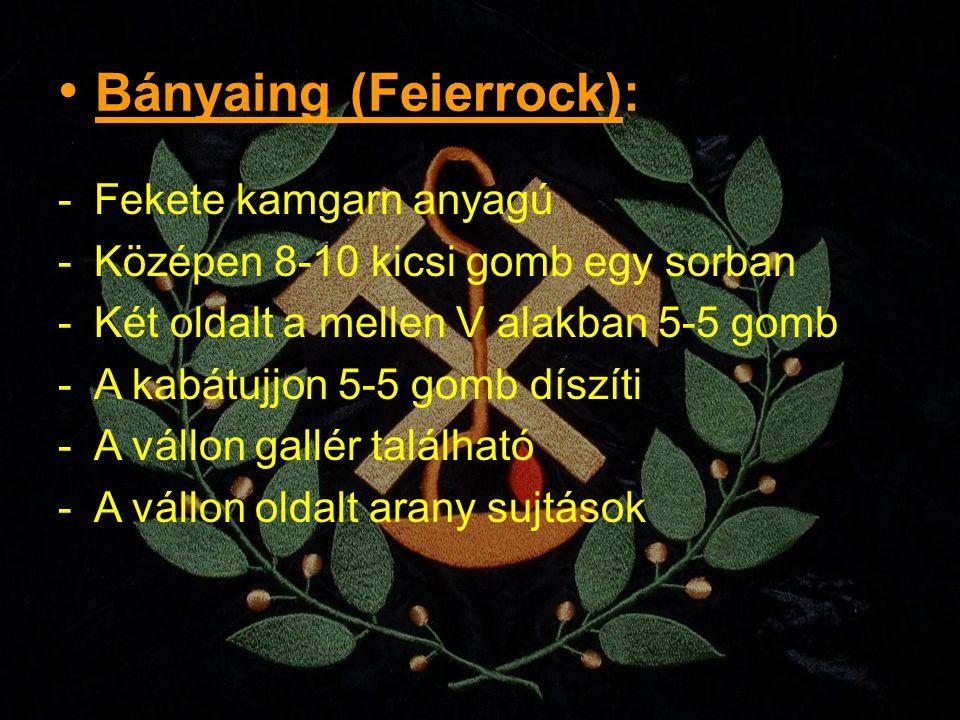 Bányaing (Feierrock): -Fekete kamgarn anyagú -Középen 8-10 kicsi gomb egy sorban -Két oldalt a mellen V alakban 5-5 gomb -A kabátujjon 5-5 gomb díszít