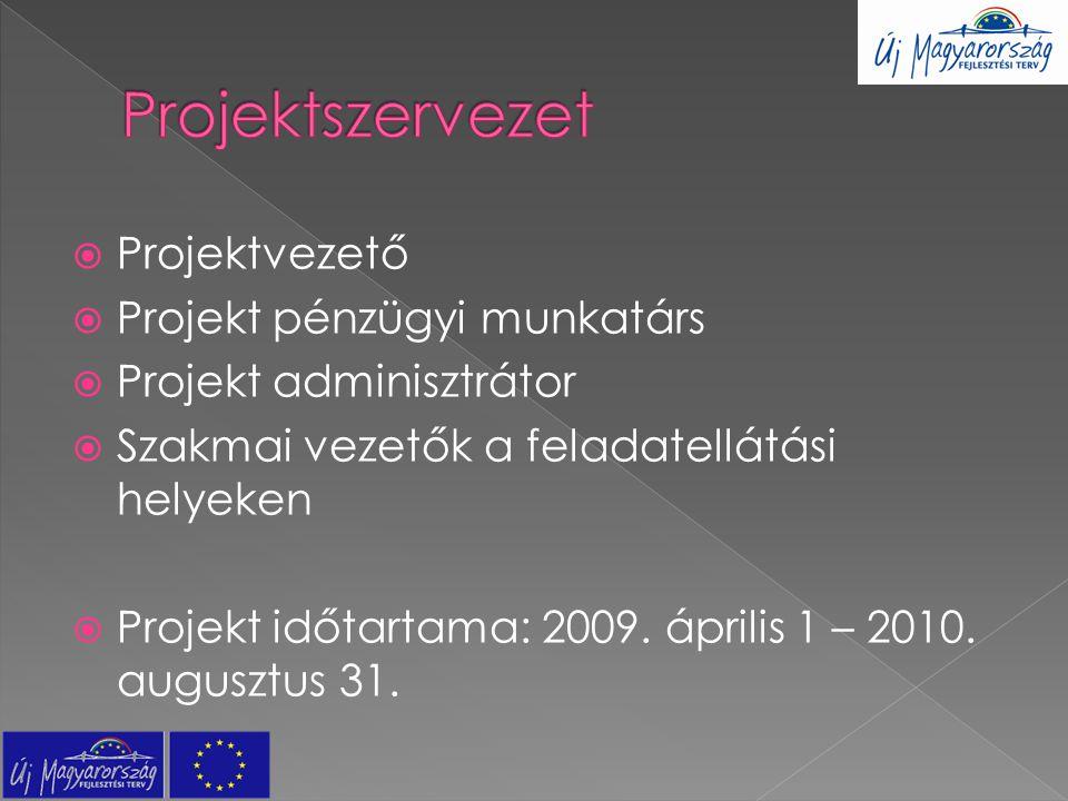  Projektvezető  Projekt pénzügyi munkatárs  Projekt adminisztrátor  Szakmai vezetők a feladatellátási helyeken  Projekt időtartama: 2009. április