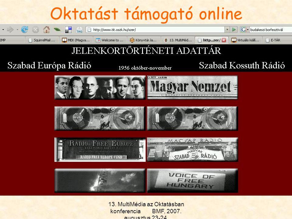 13. MultiMédia az Oktatásban konferencia BMF, 2007. augusztus 23-24. Oktatást támogató online szolgáltatások II. Irodalmi tématérkép –33 klasszikus ma