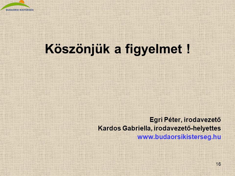 16 Köszönjük a figyelmet ! Egri Péter, irodavezető Kardos Gabriella, irodavezető-helyettes www.budaorsikisterseg.hu