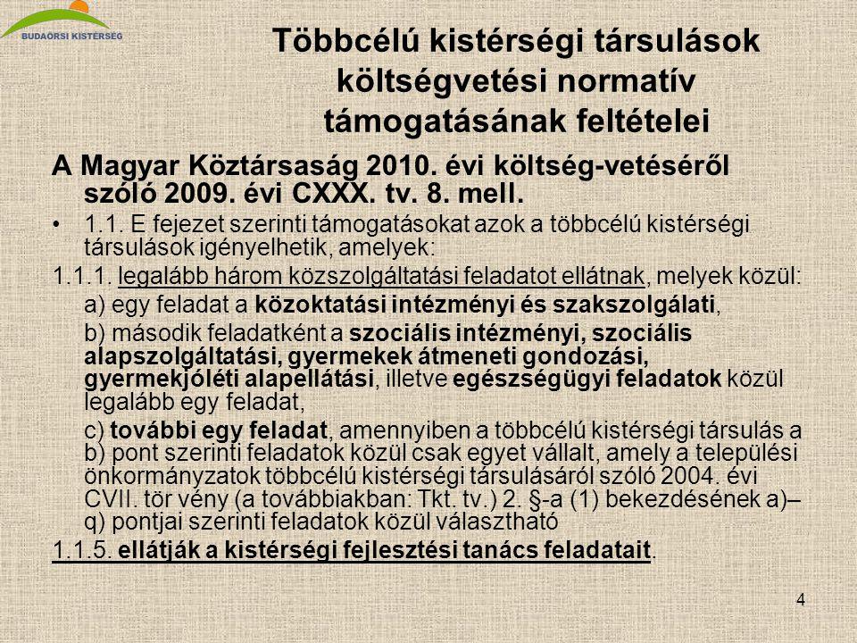 4 Többcélú kistérségi társulások költségvetési normatív támogatásának feltételei A Magyar Köztársaság 2010. évi költség-vetéséről szóló 2009. évi CXXX