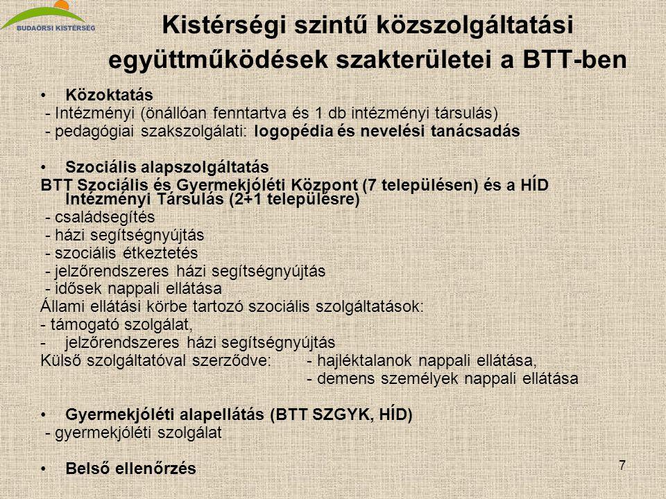 7 Kistérségi szintű közszolgáltatási együttműködések szakterületei a BTT-ben Közoktatás - Intézményi (önállóan fenntartva és 1 db intézményi társulás) - pedagógiai szakszolgálati: logopédia és nevelési tanácsadás Szociális alapszolgáltatás BTT Szociális és Gyermekjóléti Központ (7 településen) és a HÍD Intézményi Társulás (2+1 településre) - családsegítés - házi segítségnyújtás - szociális étkeztetés - jelzőrendszeres házi segítségnyújtás - idősek nappali ellátása Állami ellátási körbe tartozó szociális szolgáltatások: - támogató szolgálat, -jelzőrendszeres házi segítségnyújtás Külső szolgáltatóval szerződve:- hajléktalanok nappali ellátása, - demens személyek nappali ellátása Gyermekjóléti alapellátás (BTT SZGYK, HÍD) - gyermekjóléti szolgálat Belső ellenőrzés