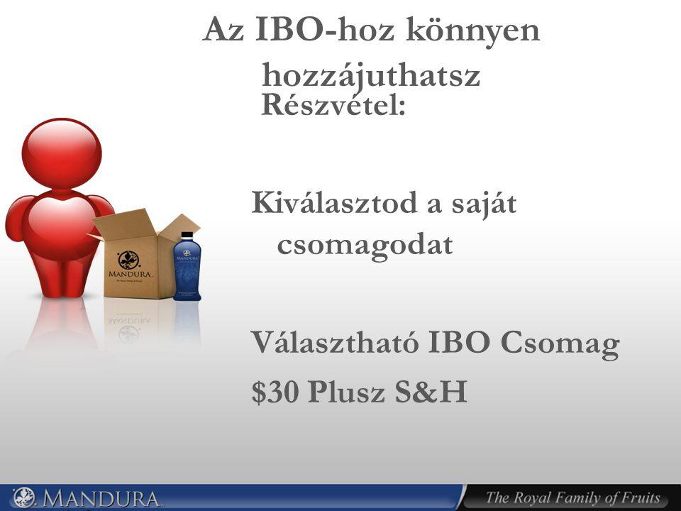 Az IBO-hoz könnyen hozzájuthatsz Részvétel: Kiválasztod a saját csomagodat Választható IBO Csomag $30 Plusz S&H