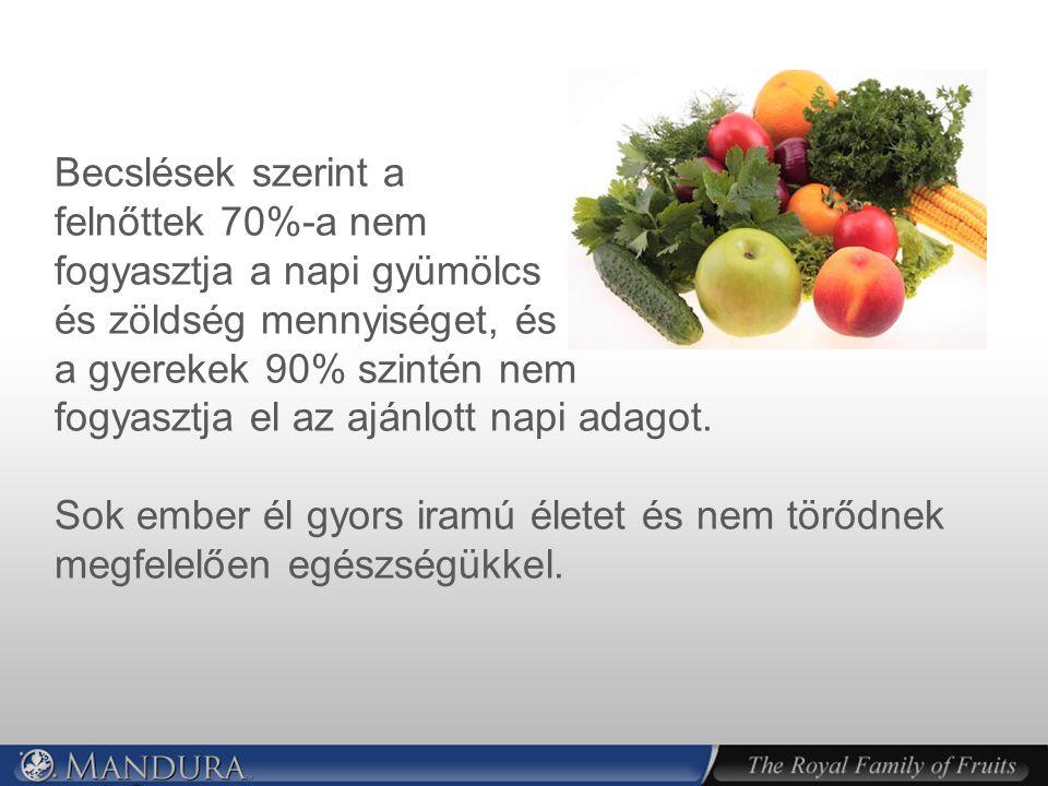 Becslések szerint a felnőttek 70%-a nem fogyasztja a napi gyümölcs és zöldség mennyiséget, és a gyerekek 90% szintén nem fogyasztja el az ajánlott napi adagot.