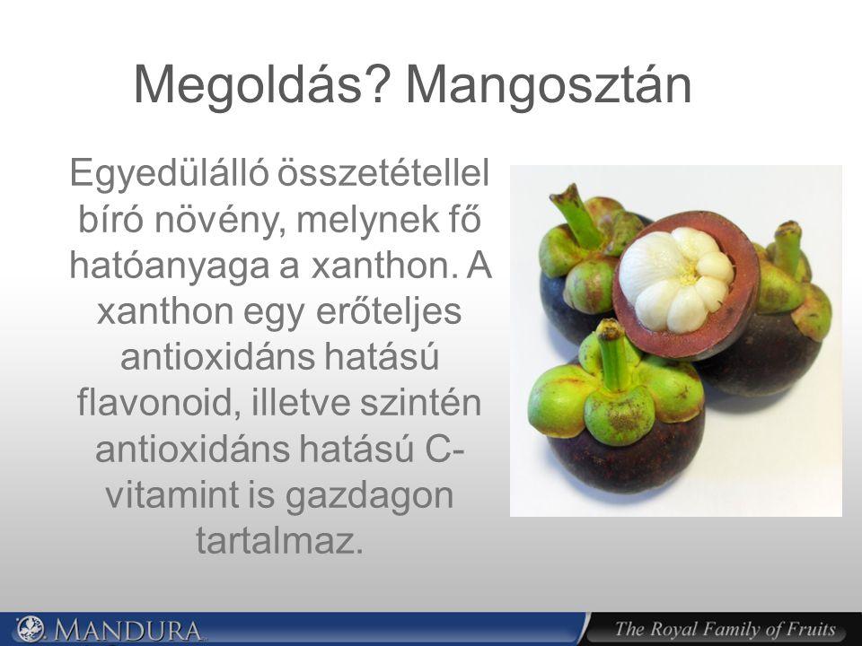 Megoldás.Mangosztán Egyedülálló összetétellel bíró növény, melynek fő hatóanyaga a xanthon.