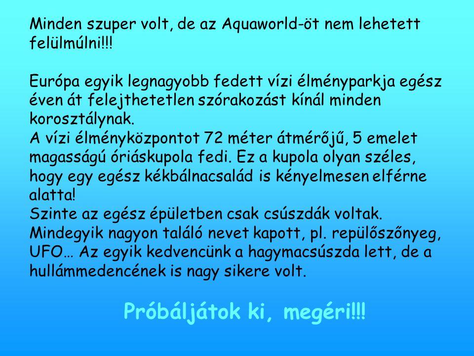 Minden szuper volt, de az Aquaworld-öt nem lehetett felülmúlni!!! Európa egyik legnagyobb fedett vízi élményparkja egész éven át felejthetetlen szórak