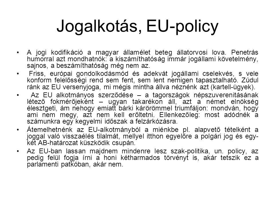 Jogalkotás, EU-policy A jogi kodifikáció a magyar államélet beteg állatorvosi lova. Penetrás humorral azt mondhatnók: a kiszámíthatóság immár jogállam