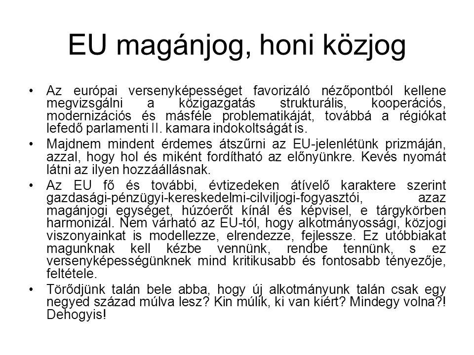 EU magánjog, honi közjog Az európai versenyképességet favorizáló nézőpontból kellene megvizsgálni a közigazgatás strukturális, kooperációs, modernizác