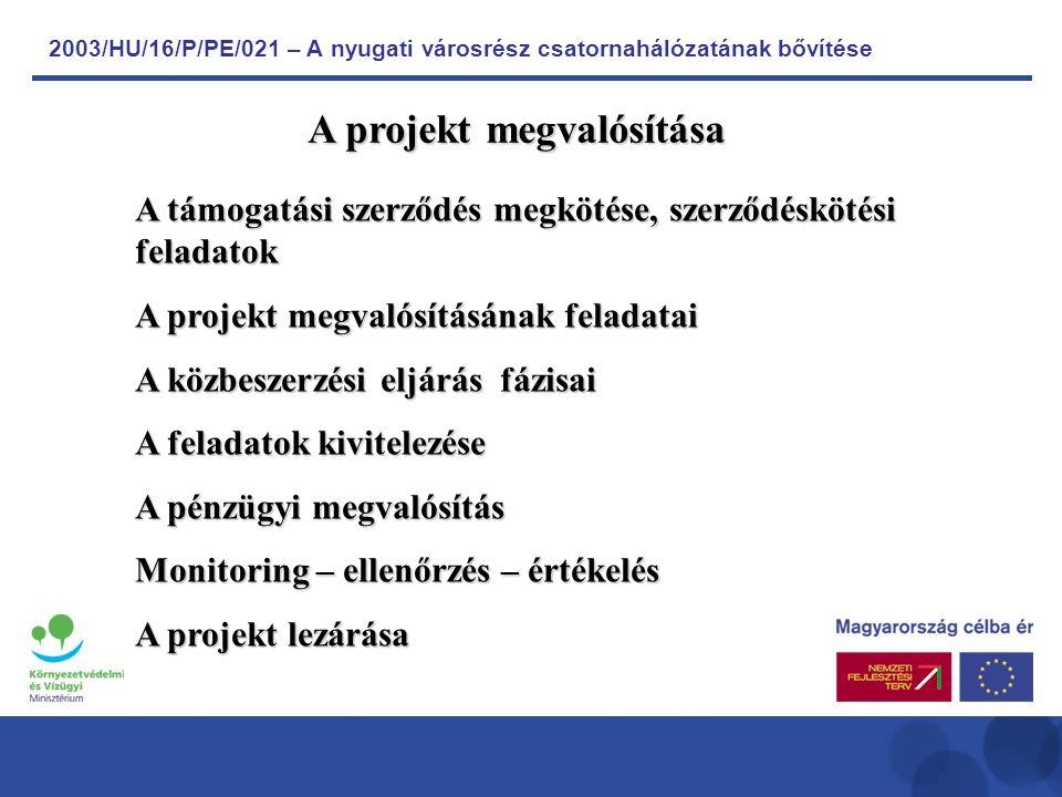 2003/HU/16/P/PE/021 – A nyugati városrész csatornahálózatának bővítése A támogatási szerződés megkötése, szerződéskötési feladatok A projekt megvalósításának feladatai A közbeszerzési eljárás fázisai A feladatok kivitelezése A pénzügyi megvalósítás Monitoring – ellenőrzés – értékelés A projekt lezárása A projekt megvalósítása
